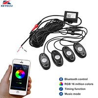 KEYECU 12V 4 Pods RGB Waterproof LED Rock Lights with Bluetooth Control Timing Function Music Mode Neon LED Underglow Light