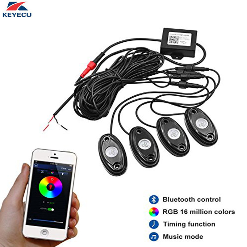 KEYECU 12V 4 Pods RGB Waterproof LED Rock Lights with Bluetooth Control Timing Function Music Mode - Neon LED Underglow Light