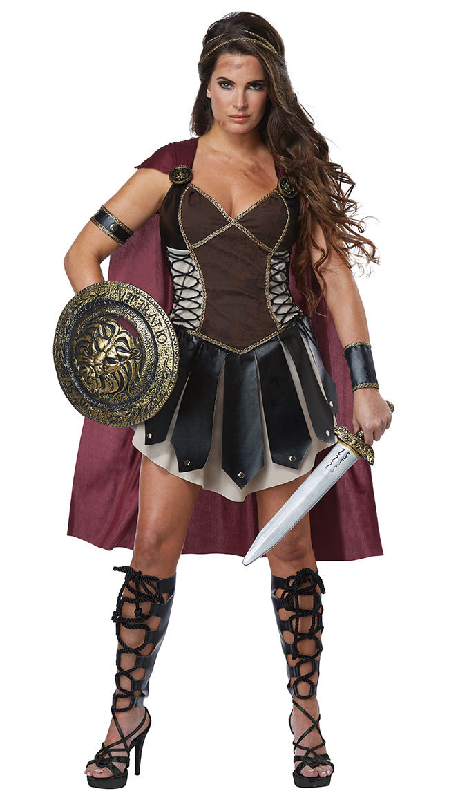 Halloween Ladies Xena Gladiator Warrior Princess Greek Roman Centurian Spartan Fancy Dress Costume & Cape