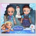2017 2 uds muñecas princesa Anna Elsa para niñas juguetes princesa Anna Elsa muñecas para niñas juguetes 16cm pequeñas muñecas de plástico congelado