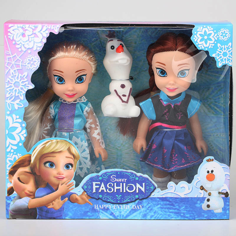 2017 2pcs Princess Anna Elsa Dolls For Girls Toys Princess Anna Elsa Dolls For Girls Toys 16cm Small Plastic Baby Dolls Congelad(China)