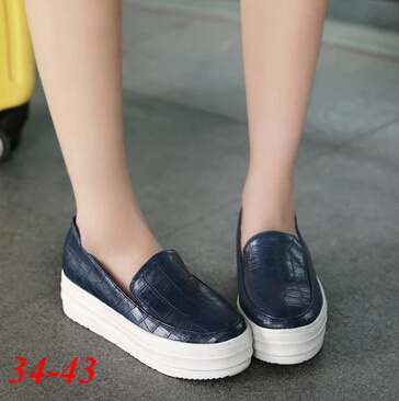 de6066009b0 Plus Size 34 43 Women Flats Platform Shoes Fashion Ladies PU Leather Blue  Moccasins Zapatos Mujer Creepers Punk Flat Shoes 2015-in Women s Flats from  Shoes ...