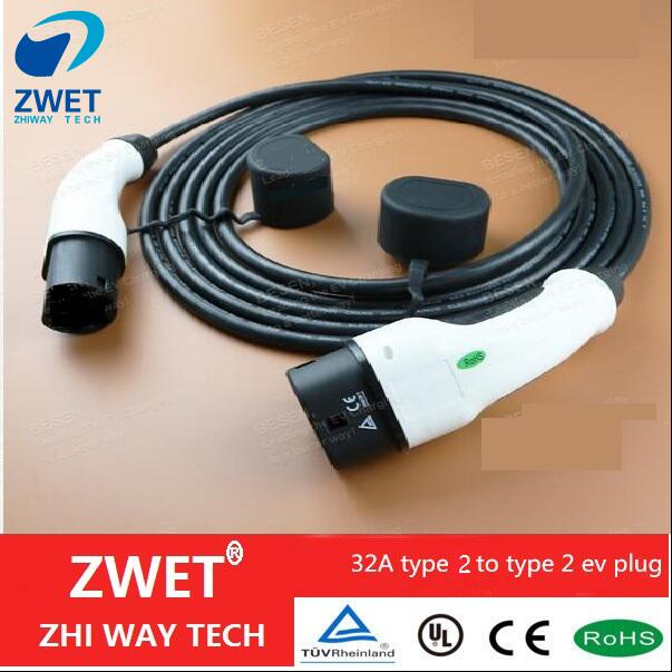 ZWET IEC 62196 Electric car charger cable Type 2 Mennekes 32 Amp 5 Meter Single Phase