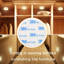 Xsky Touch Sensor LED Under Cabinets Lights Dimmable LED Puck Light For Kitchen Wardrobe Stair Closet Night Lamp Battery Powered