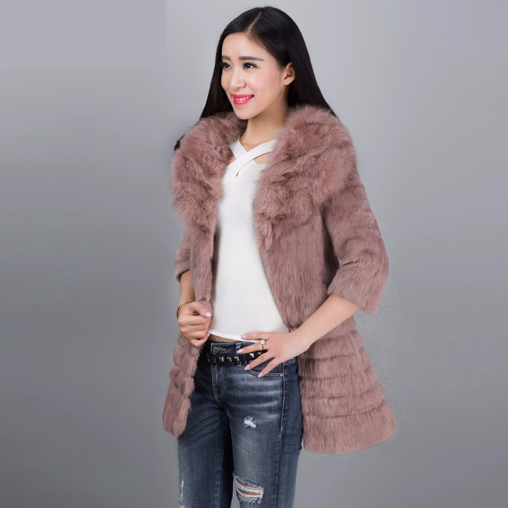 2018 women's full pelt real rabbit fur coat outerwear women cotton wadded 3/4 sleeve winter jacket with natural fox fur collar basic editions fall winter brown metallic silk fabric cotton coat with rabbit fur collar with belt covered button 7001d11