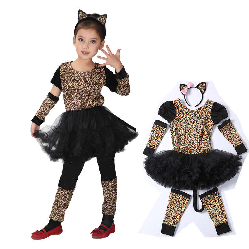 Cat Costumes for Kids Little Leopard Kitty Fancy dress Cosplay Clothes  Halloween Party decoration c5260a8e0a47