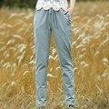 Bolsillo de Los Pantalones de Las Mujeres Del Bordado ocasional Otoño Nueva Moda de Punto de Algodón Pantalones Pantalones Harem Elástico de La Cintura Femenina Femme