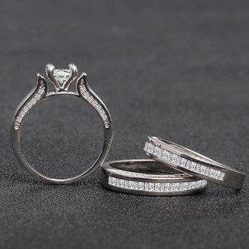 100% 18K White Gold Diamond Ring Set for Women Men Anillos Three piece Bizuteria Gemstone 18k Gold Diamond Jewelry Wedding Rings 2
