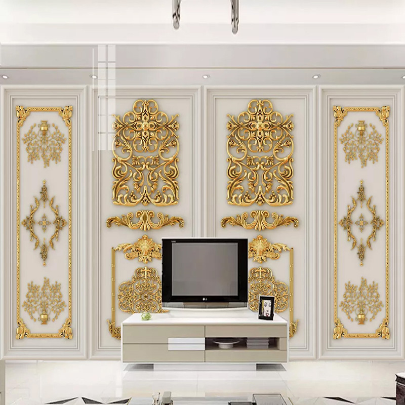 Custom Photo Wallpaper 3D Golden Relief Carving Murals Living Room Bedroom Luxury Home Decor Wall Paper For Wall Papel De Parede