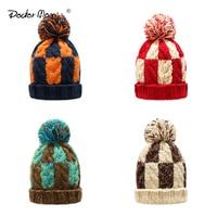 Doctor Mom S New Fashion Baby Boys Girls Geometric Pattern Hats Newborn Photography Props Kids Winter