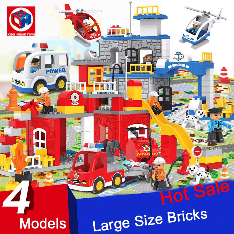 Large Size City Series Police Station Fire Station Construction Team 3D Model Building Blocks Bricks Toy