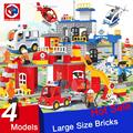 Large Size City Series Police Station Fire Station Construction Team 3D Model Building Blocks Bricks Toy Compatible With Duplo