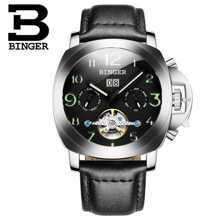 2017 New Brand Binger Fashion Black Leather Strap Men Automatic Mechanical Self Wind Watch Calendar Date Simple Men WristWatch 2015 new fashion brand pu leather strap men automatic mechanical watch skeleton self wind watch for man dress casual wristwatch
