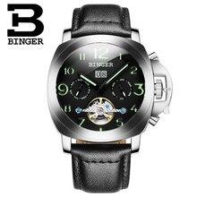 2017 New Brand Binger Fashion Black Leather Strap Men Automatic Mechanical Self Wind Watch Calendar Date Simple Men WristWatch