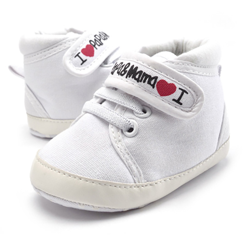 0-18M Baby Mocassins Infant Toddler Baby Boys Girls Print Letter Love PAPA&MAMA Soft Sole Canvas Sneaker Anti-Slip Newborn Shoes