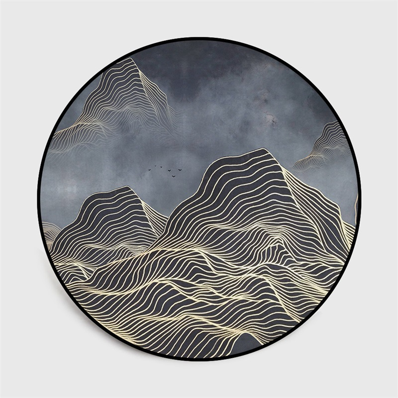 Chinese classical style abstract blue Mountain ink painting  carpet Bedroom living room round floor mat non slip rug custom madeMat