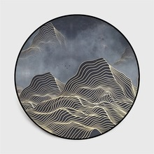 Chinese classical style abstract blue Mountain ink painting carpet Bedroom living room round floor mat non slip rug custom made