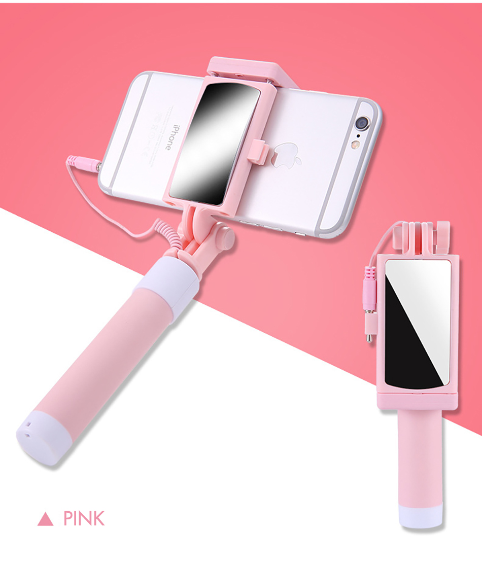 !ACCEZZ Mini Wired Selfie Stick IOS For iPhone X XR XS MAX 8 7 6 For Huawei Samsung Monopod Foldable Portable Selfiestick Mirror (14)