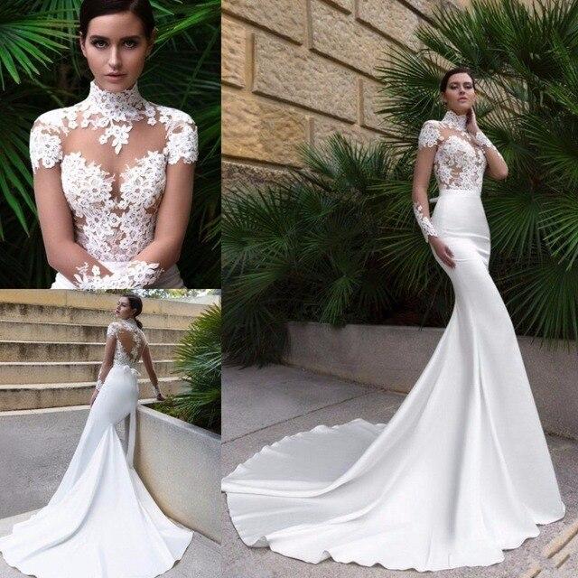 2017 new high neck design sexy mermaid wedding dress sheer for Sexy wedding dress designers
