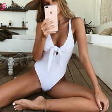 White One Piece Swimsuit Ribbed Bikinis High Waist One-Piece Deep V Swimwear Bandeau Beachwear Women Bathing Suit Swim