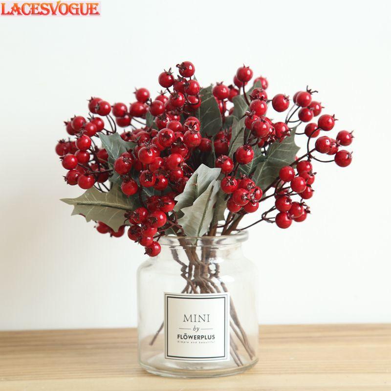 Acheter 21 PC Rouge Vif Artificielle Fleurs De Noël Fruits Baies Haricots Pour Le Mariage Accueil Parti Décoration de Artificielle et Fleurs Séchées fiable fournisseurs