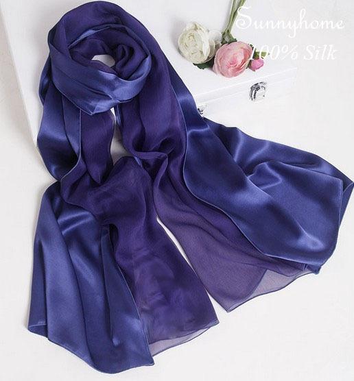 Inverno cachecóis cachecol mulheres 100% real cetim de seda azul escuro patchwork dupla face Xale formal camisa muçulmano hijab lenço de pashmina