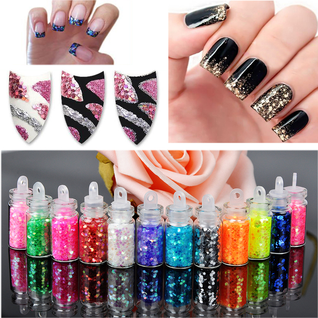 12 bottles/set DIY Nail Art Decorations For Women Art Powder Dust Tip Rhinestone Manicure Tools 12 Colors Shining Nail Glitter