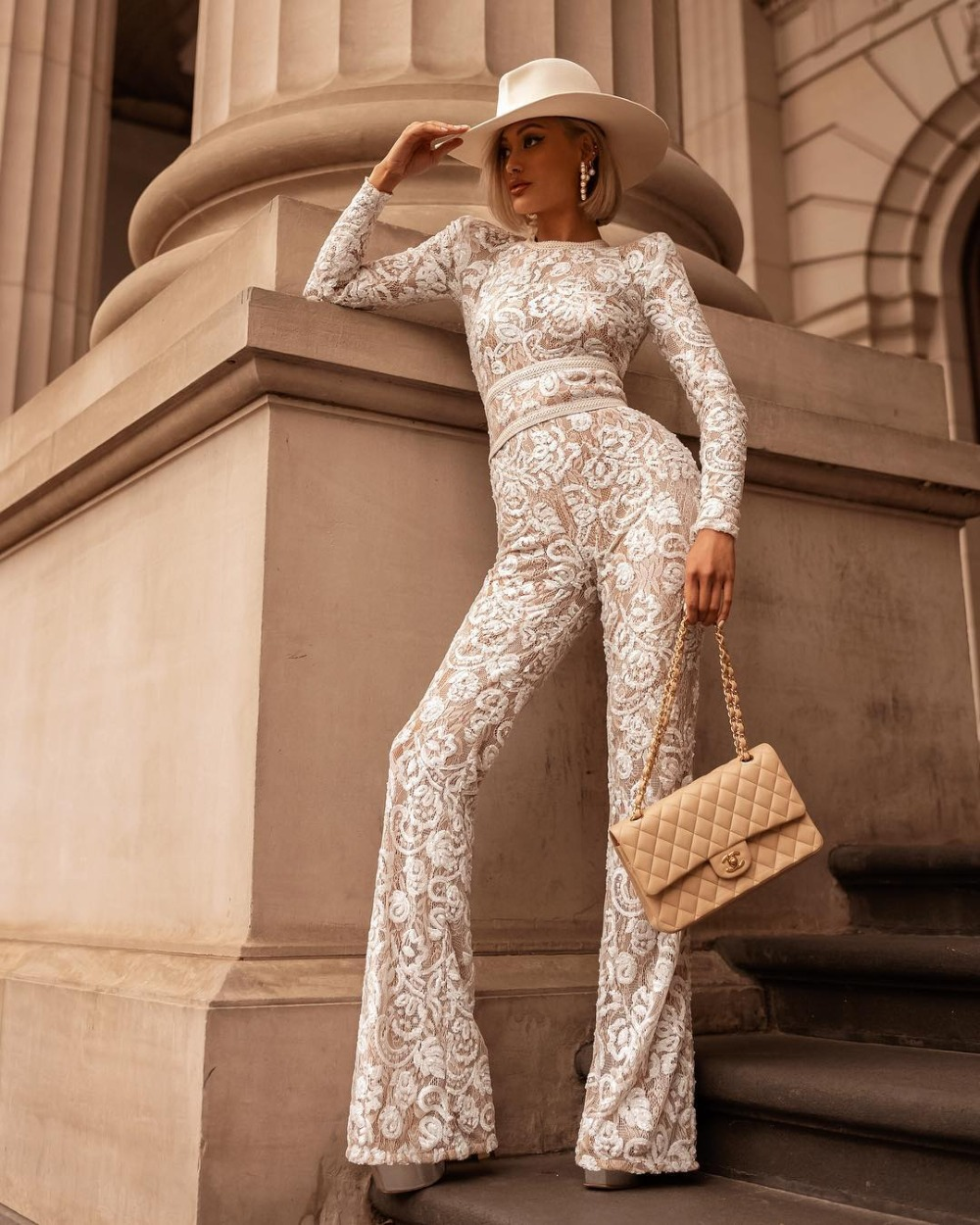 New Celebrity White Lace Long Sleeve Rayon Bandage Jumpsuit Top Quality Evening Party Jumpsuit