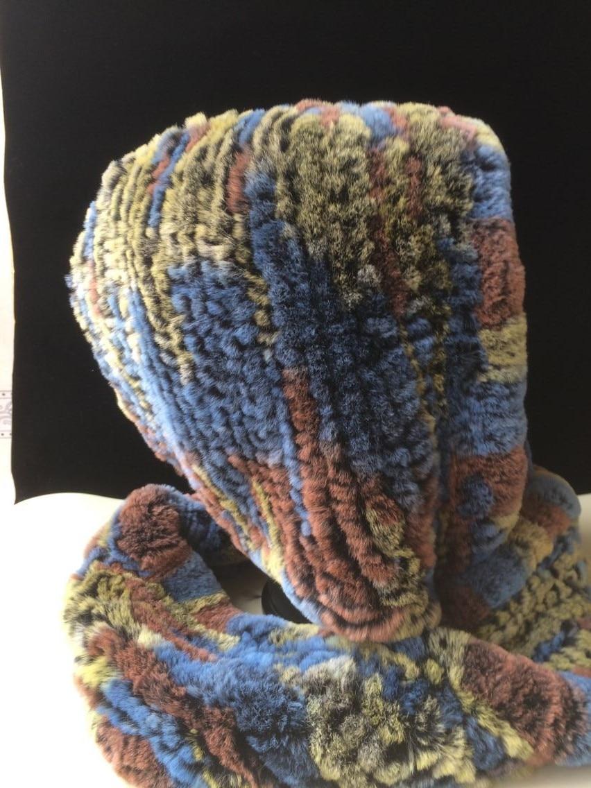 ICYMI hiver chapeau à capuche écharpe Rex fourrure de lapin tricoté casquette bonne qualité vraie fourrure écharpes et chapeaux Super chaud femmes chapeau d'hiver - 5
