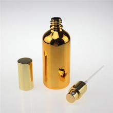 shipping to Qatar 200PCS fine mist golden 100ml glass spray bottle, 100 ml gold color bottle for essential oils