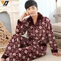 Conjuntos de Pijama de flanela De Qualidade Casa de Inverno Dos Homens do Velo Coral Onesie Loungewear Calças Roupas Terno