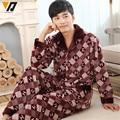 Flannel Pajamas Sets For Men Coral Fleece Quality Winter House Onesie Loungewear Clothes Pants Suit