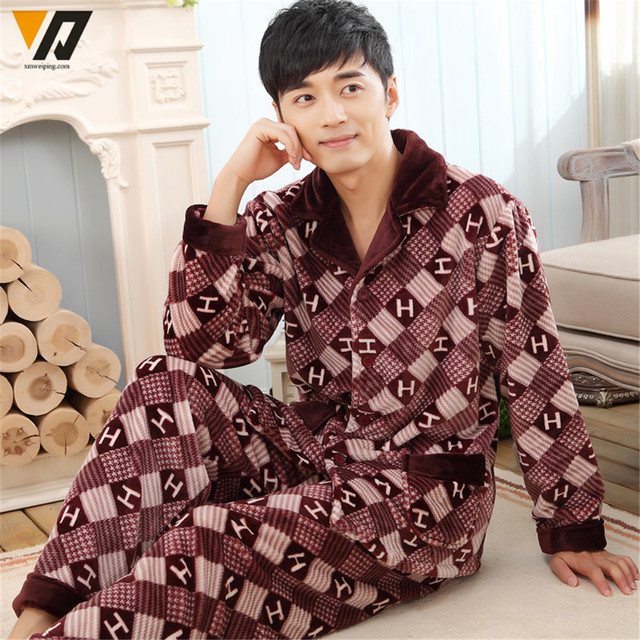 Flannel Pajamas Sets For Men Coral Fleece Quality Winter House Onesie Loungewear Clothes Pants Suit