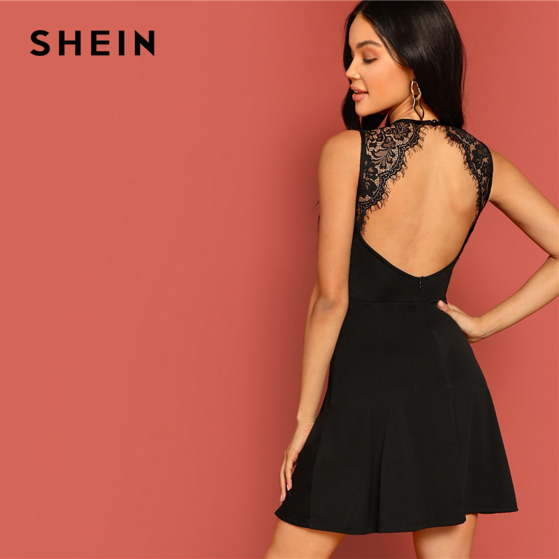 SHEIN Sexy Black Lace Insert Open Back Skater Fit and Flare High Waist Sleeveless Fitted Mini Dress Women Summer Solid Dresses