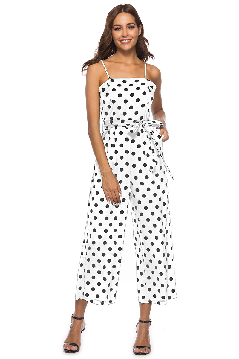 HTB1t9oIbdjvK1RjSspiq6AEqXXaq - Women Rompers summer long pants elegant strap woman jumpsuits polka dot plus size jumpsuit off shoulder overalls for womens