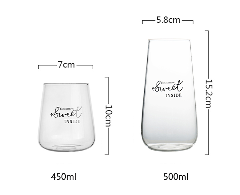 1Pc Glass Coffee Cup Brief Style Water Glass Milk Juice Dessert Cup Clear Glass Beer Mug Iced Tea Cafe Latte Cup Drinkware
