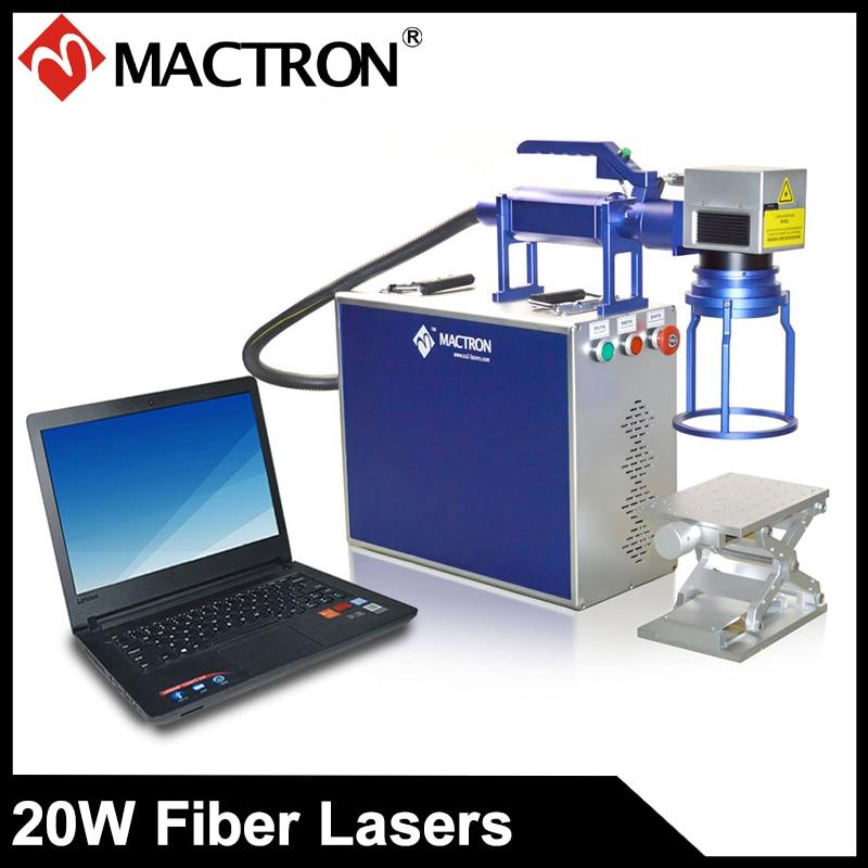 Přenosný 20W laserový značkovací stroj pro tisk na hliník, ložisko, mosaz, nerez, šperky