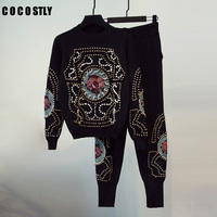 High Quality Fashion 2018 Winter two piece set Women's embroidery flower beading Pullover Sweatshirt Pants Suit Set