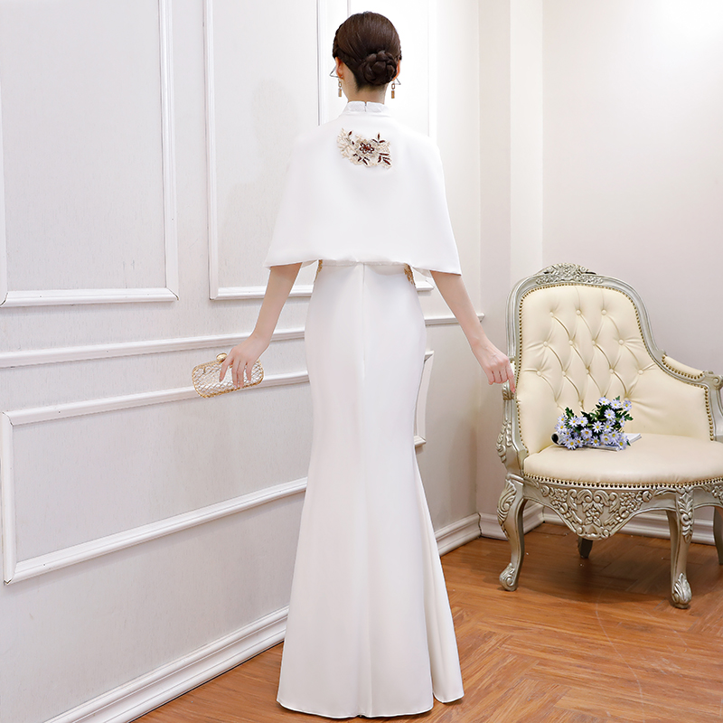 White Elegant Lace Floral Women Cheongsam Vintage Mandarin Collar Qipao Sexy Slim Mermaid Evening Dress Vestidos With Cape