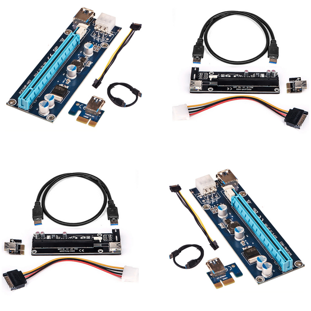 Marsnaska 60cm PCIe PCI-E PCI Express Riser Card 1x to 16x USB 3.0 Data Cable SATA to 4Pin IDE Power high quality iss g200 1 pb niagara2250 60 pci sales all kinds of motherboard
