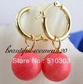 beautiful natural 13 mm round pink coral earrings