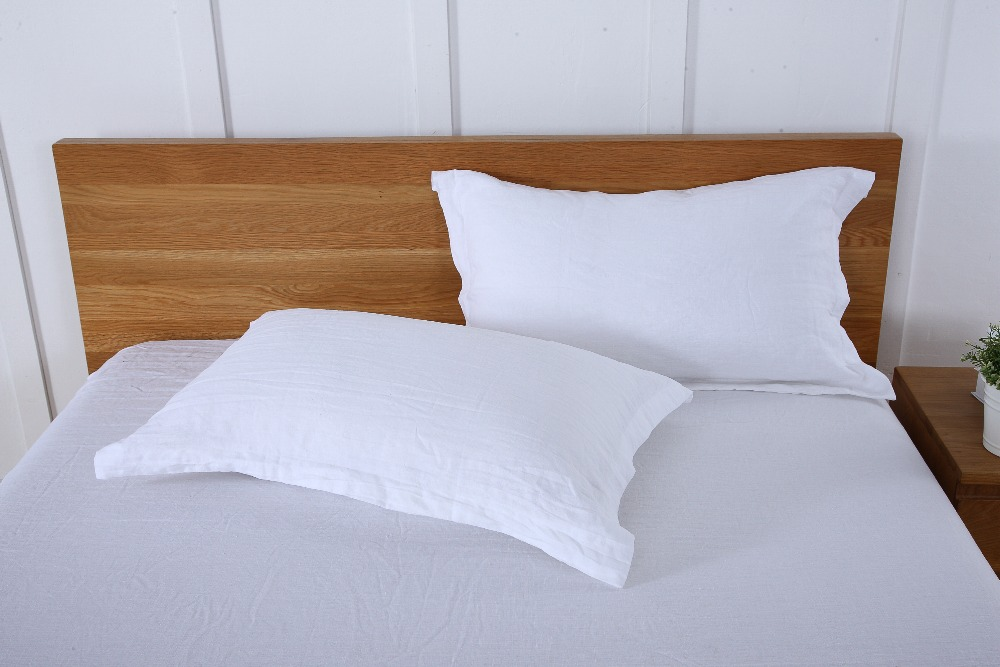 With Border 4CM White Linen Pillowcase linen Bed Sheet 100 French Linen Fitted Sheet 3 pcs lot in Sheet from Home Garden