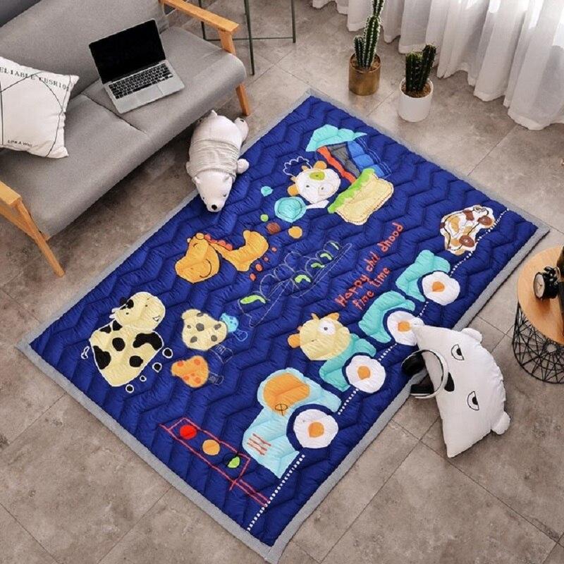 Motif Simple bébé jouer tapis enfants ramper tapis coton 2.5 CM épais doux tapis sans odeur sûr couverture tapis Style nordique - 3