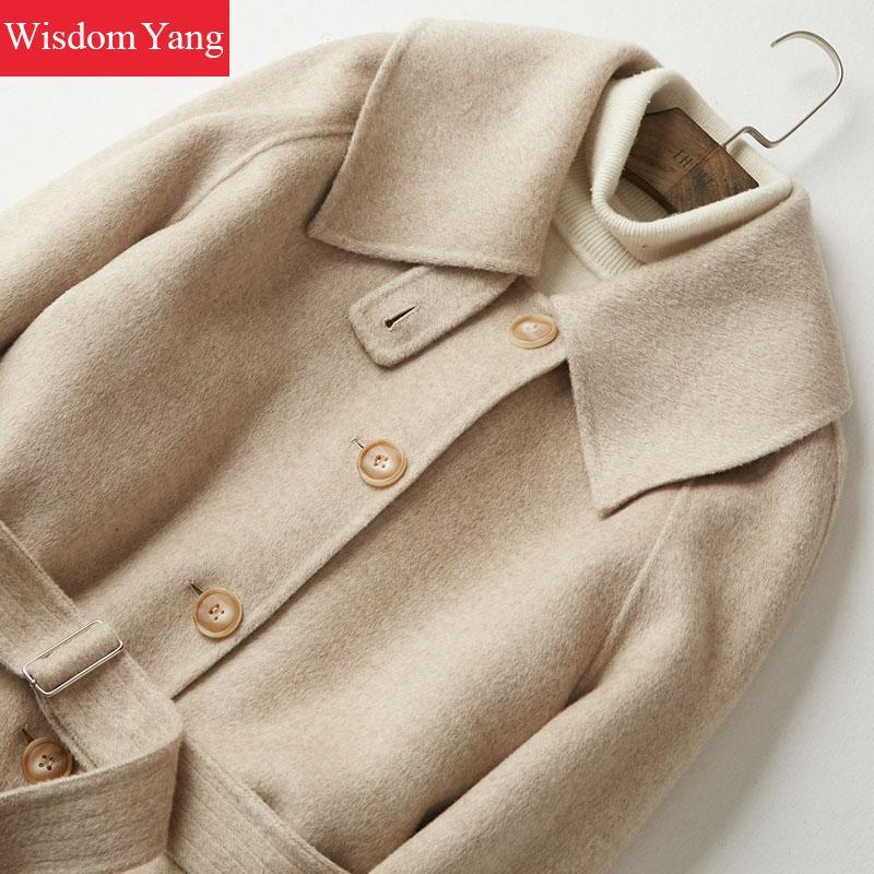 De Femmes Long Pardessus Manteau Élégant 2018 Femme Kaki Laine Khaki Hiver  Moutons Survêtement Dames Bureau Chaud Coat Manteaux ... 29b5e780ff5f
