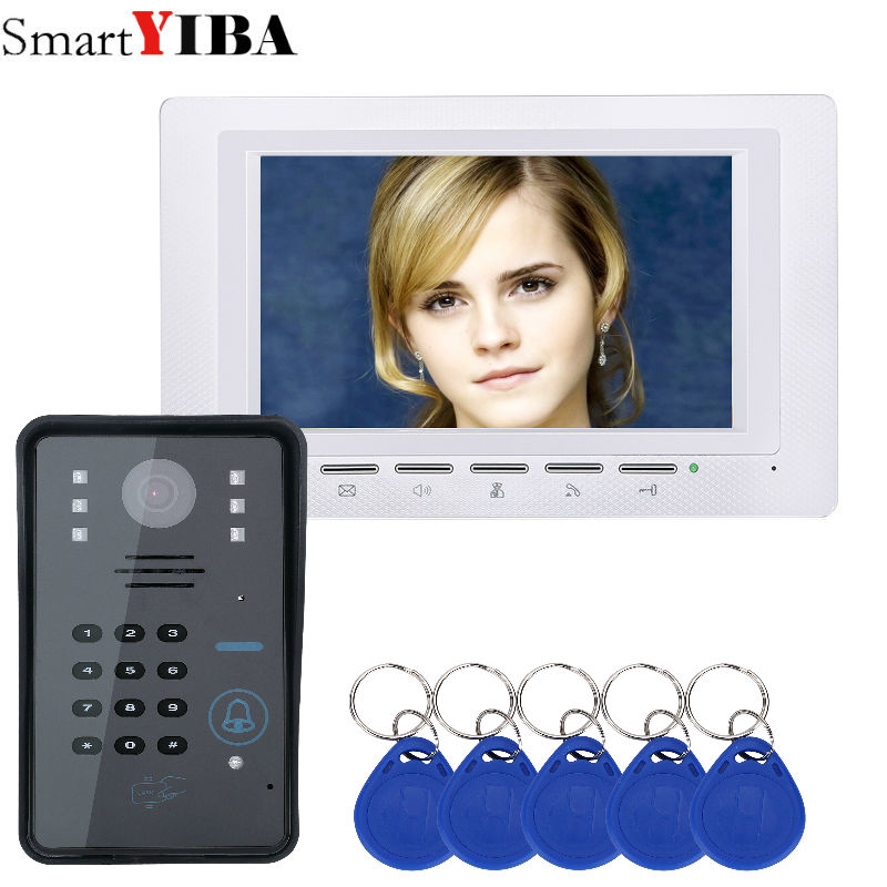 SmartYIBA TFT LCD Handfree Intercom Home Kits White Monitor Number Code Keypad Video Door Phone 7