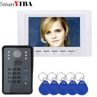 SmartYIBA TFT LCD Handfree Intercom Home Kits White Monitor Number Code Keypad Video Door Phone 7 Doorbell Security System