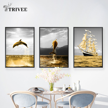 Home Decor Seascape Sailing Canvas Painting Marine Animal Dolphin Landscape Painting Wall Picture For Living Room Wall Decor sailing boat seascape waterproof wall tapestry