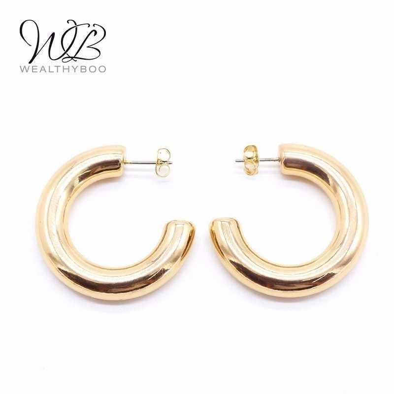 WEALTHYBOO New Women Korean Semi-circular Hoop Earrings Fashion Jewelry C-shaped Metal Round Ladies Popular Simple Earrings Gift