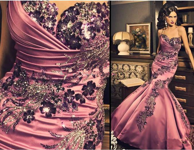 Livraison gratuite 2013 maxi robes longues formelles robes formales soirée sans bretelles Applique fleur Satin Corset Vintage robe de bal