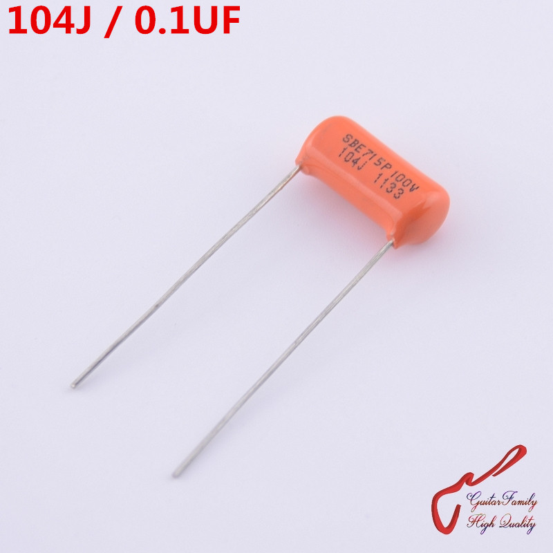 GuitarFamily Orange Tone Capacitor  SBE715P 104J  0.1UF 100V  For Electric Guitar Bass Cap MADE IN USA